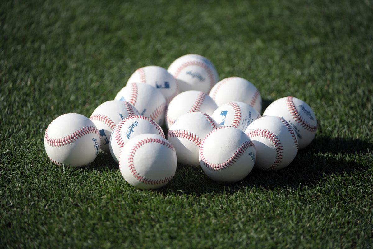 Jul 2, 2012; Los Angeles, CA, USA; General view of Rawlings major league baseballs on the field before the game between the Cincinnati Reds and the Los Angeles Dodgers at Dodger Stadium. Mandatory Credit: Kirby Lee/Image of Sport-US PRESSWIRE