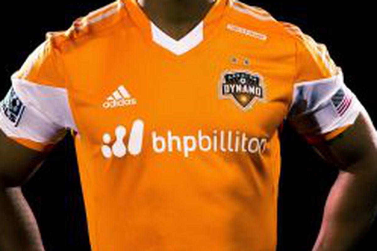 Corey Ashe model's the new Houston Dynamo jerseys