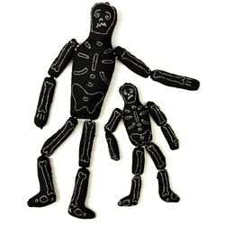 """Stitched Skeleton Set at <strong>Patch NYC</strong>, <a href=""""http://www.patchnyc.com/products/plush-skeleton-pair-ed5113#"""" target=""""new"""">$23</a>"""