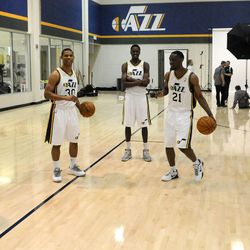 The Jazz players goof around in between photos during media day at the Zions Bank Basketball Center on Sept. 30.