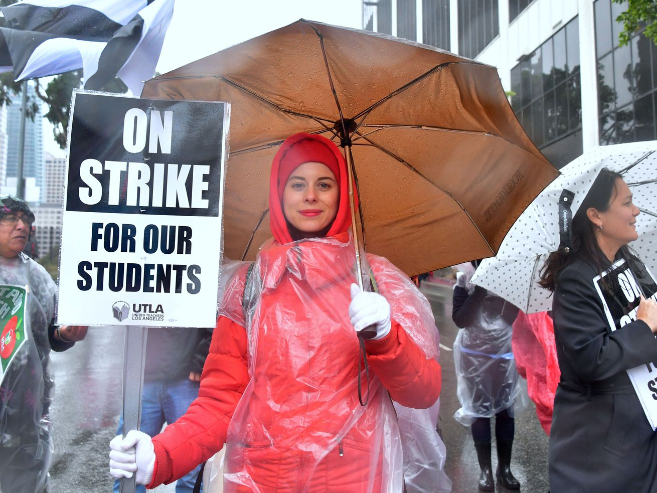An elementary school teacher joins thousands of other teachers on strike in Los Angeles on January 14, 2019. California is one of the few states that gives government workers the right to unionize and strike.