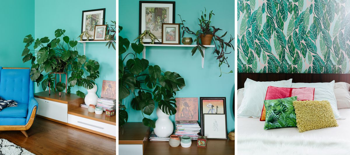 Images from the master bedroom, green walls and wallpaper above the bed.