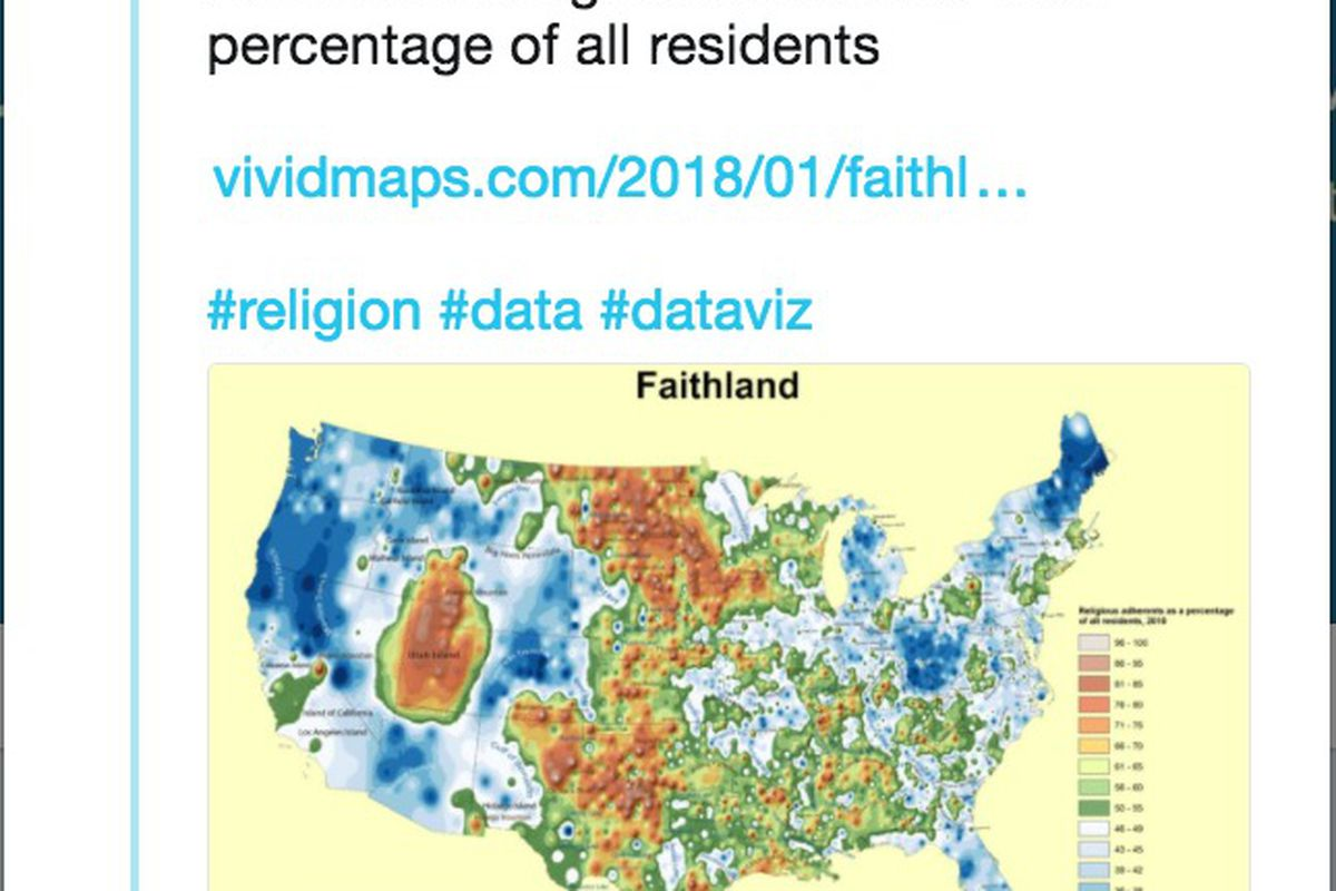 Faithland\' map shows highest, lowest religious regions in US ...