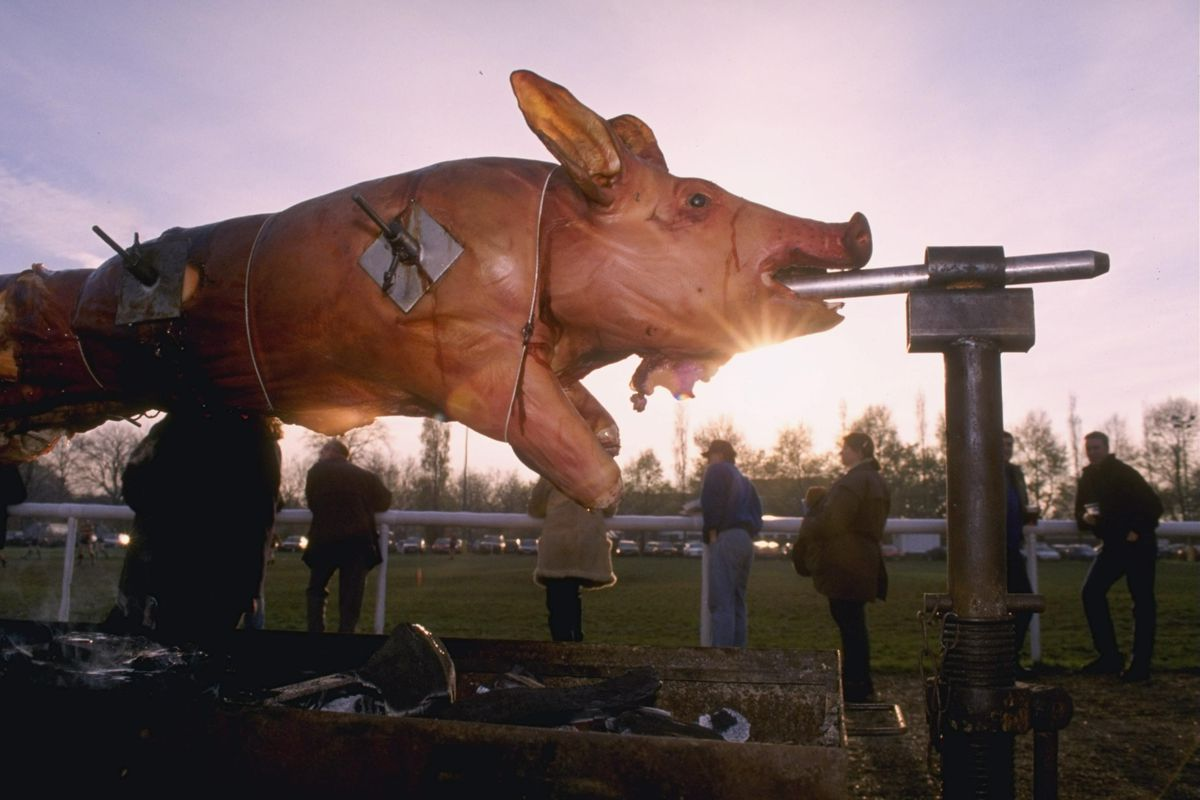 A pre match hog roast for rugby fans