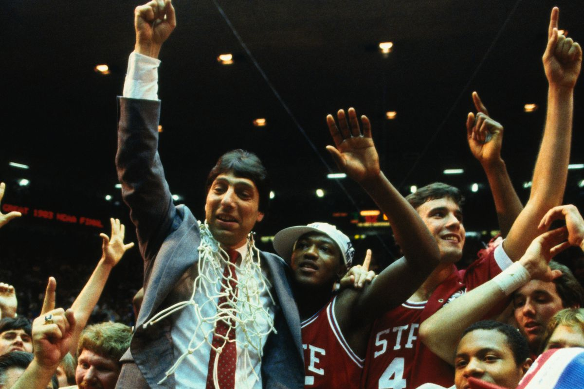 North Carolina State Coach and Players After Winning Basketball Game