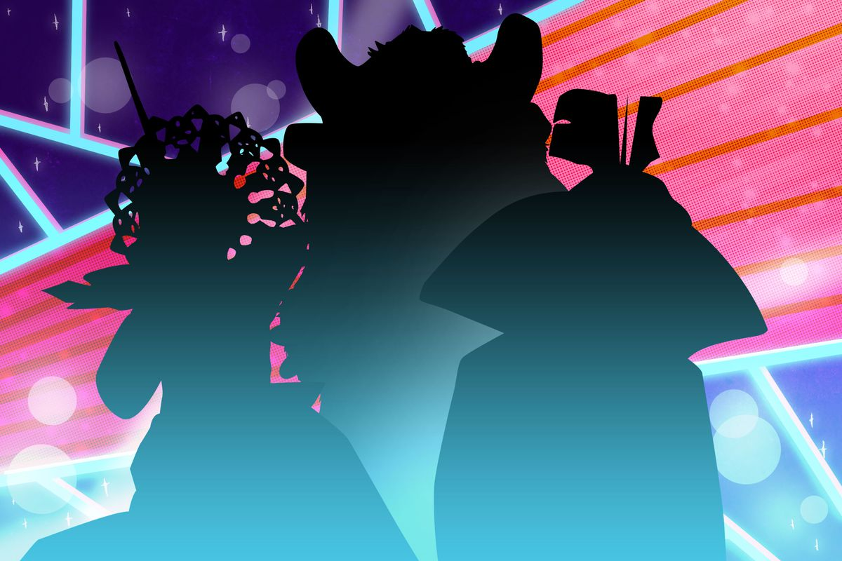 Silhouettes of three masked singer outfits