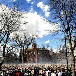 """FILE - In this April 20, 2009 file photo thousands of people fill Norlin Quad during the annual """"420"""" event at the University of Colorado in Boulder, Colo. The University of Colorado is closing its campus to outsiders on Friday, April 20, 2012 and closing the Norlin Quad to prevent a 420 gathering. For years, the term """"420"""" was a kind of code. But the term, and the holiday, have become more mainstream as more attention has been focused on marijuana issues."""