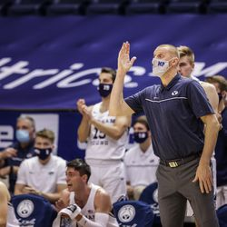 BYU Cougars head men's basketball coach Mark Pope gives instruction during a game against the Boise State Broncos at the Marriott Center in Provo, Utah on Dec. 9, 2020.