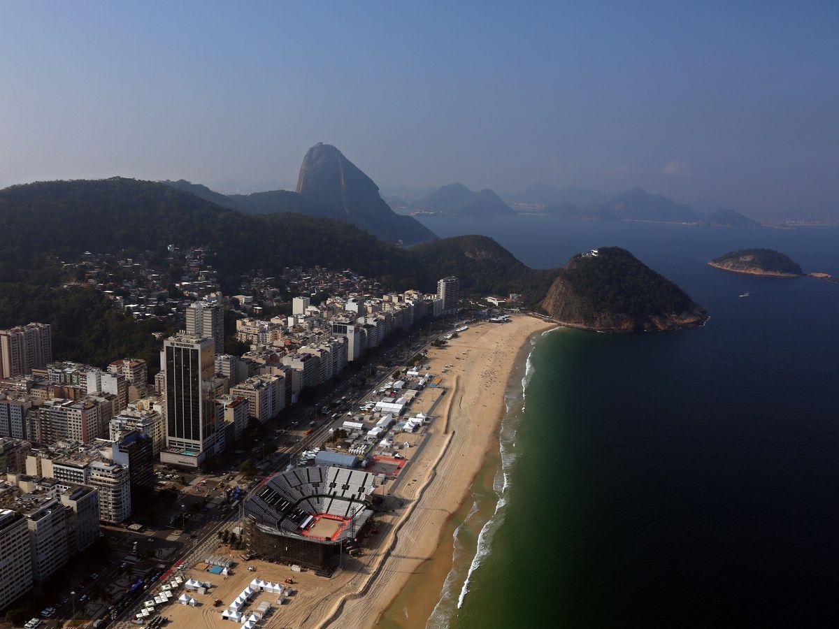 Beach Volleyball Arena on Copacabana Beach in Rio de Janeiro on July 25, 2016.