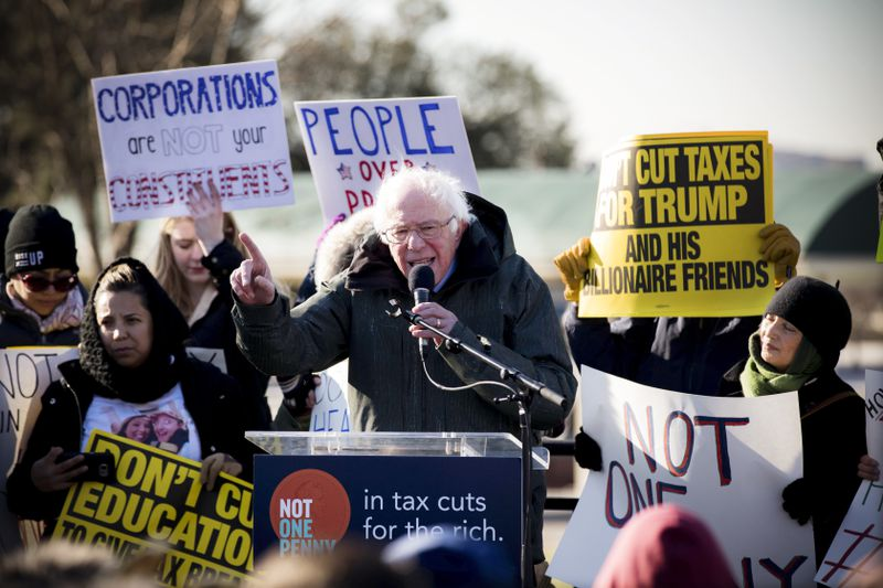 Sen. Bernie Sanders (D-VT) speaks during a rally against the Republican tax plan on Capitol Hill, on December 13, 2017.
