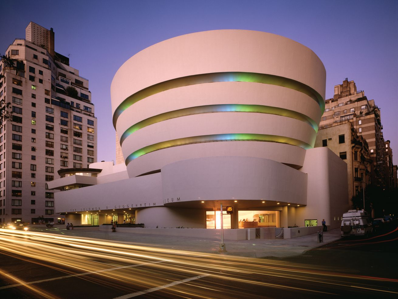 Guggenheim Museum in New York City. The apex of Wright's cylindrical and circular style, this cultural center was considered so striking when it opened, some feared it would overshadow the art within.