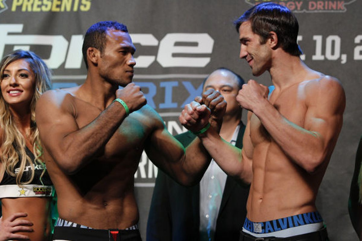Photo of Ronaldo Souza (left) and Luke Rockhold by Esther Lin for MMA Fighting