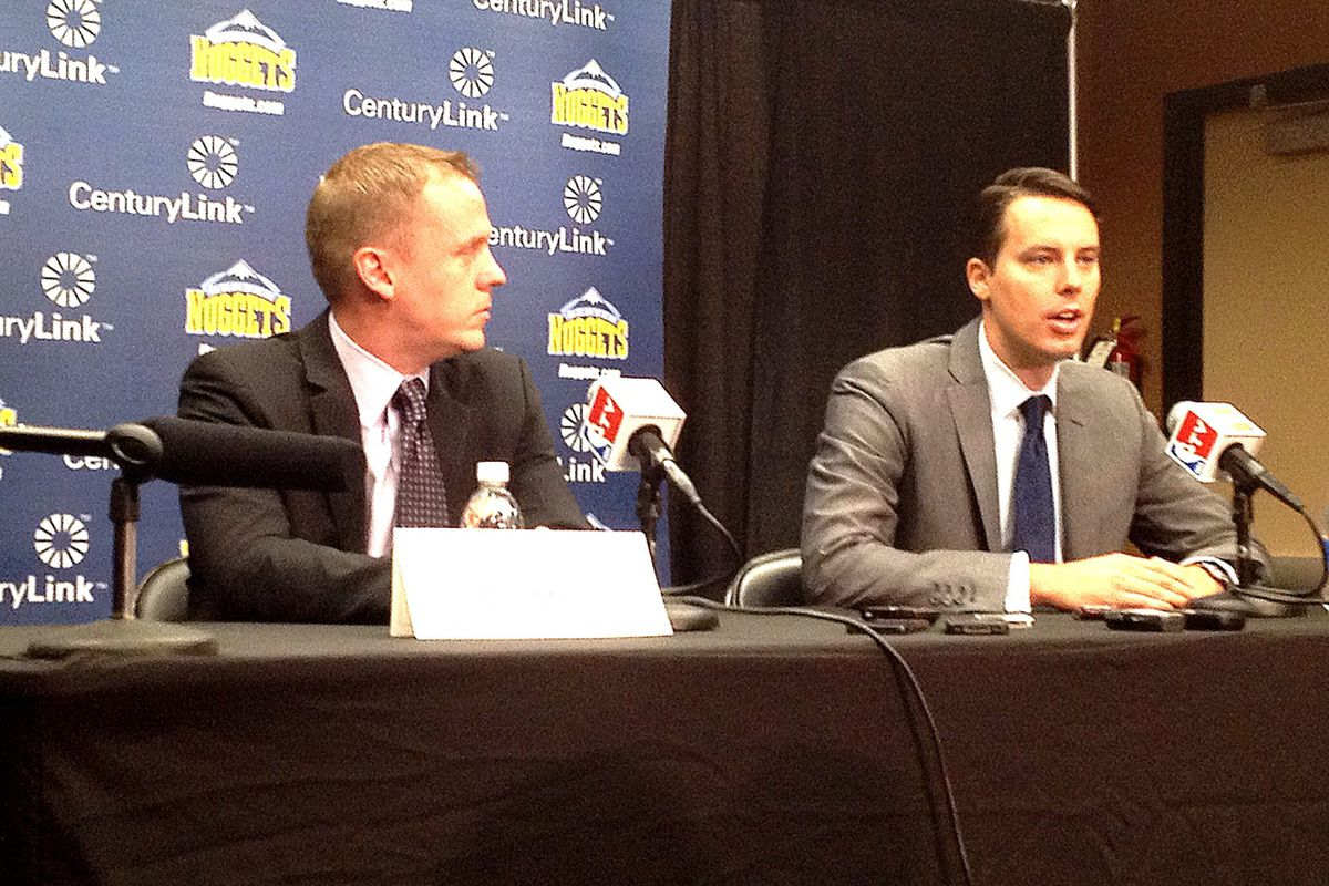 Tim Connelly and Josh Kroenke at the Pepsi Center.