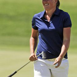 Karin Sjodin, of Sweden, smiles after a birdie on the fourth hole during the third round of the LPGA Kraft Nabisco Championship golf tournament in Rancho Mirage, Calif., Saturday, March 31, 2012.
