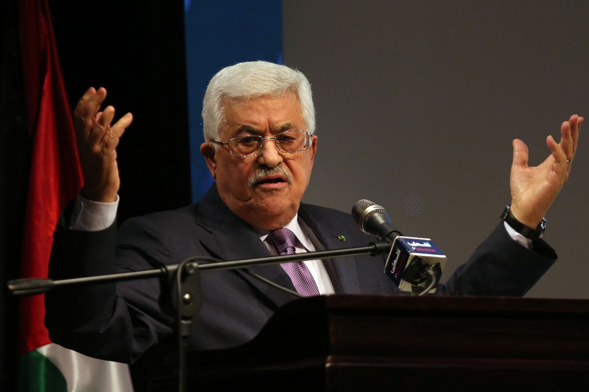 Mahmoud Abbas gives a speech about the Palestinian decision to join the ICC