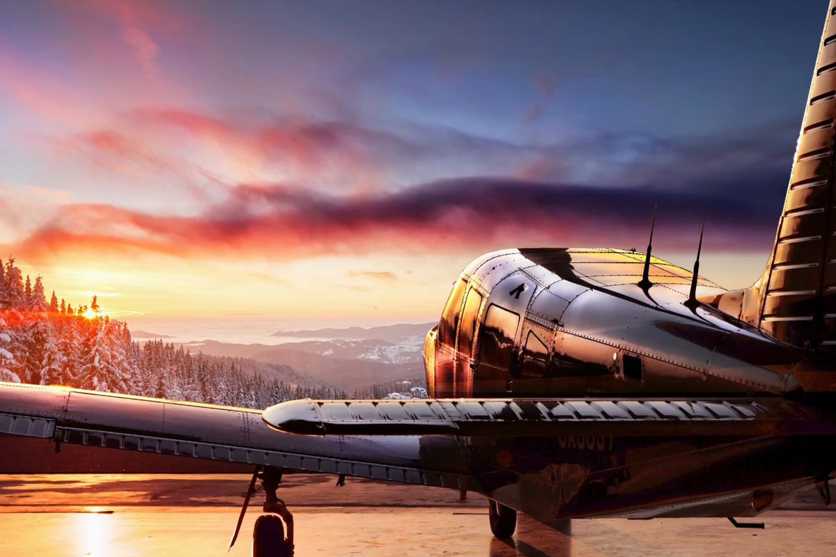 airplane at sunset in HDR