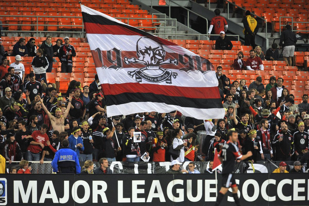 WASHINGTON, DC - APRIL 18:  Fans of D.C. United cheer against Montreal Impact at RFK Stadium on April 18, 2012 in Washington, DC. Montreal Impact  tied D.C United 1-1. (Photo by Larry French/Getty Images)