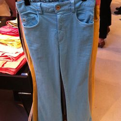 The Stacey bell pant in light blue ($198).