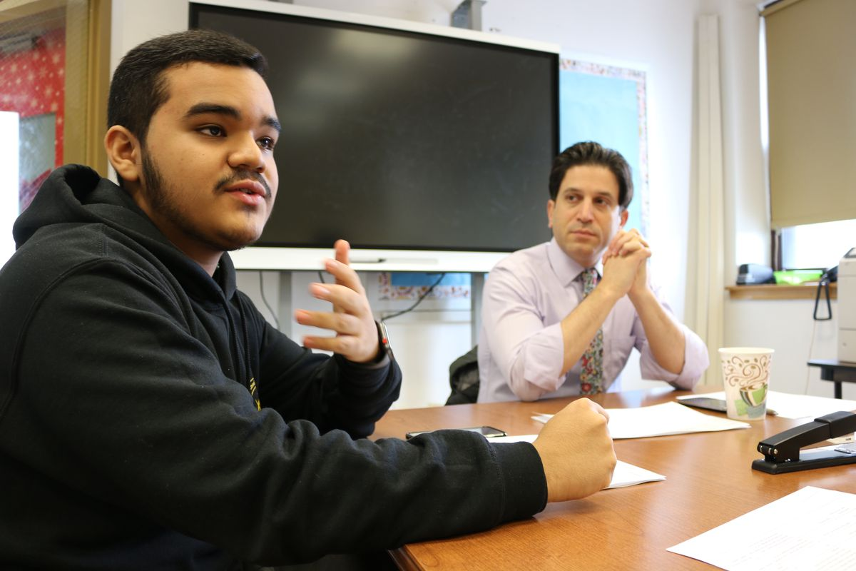 Lisandro Mayancela, a student at Brooklyn Law Tech and member of the Student Voice Collaborative, hosts visitors at his school.