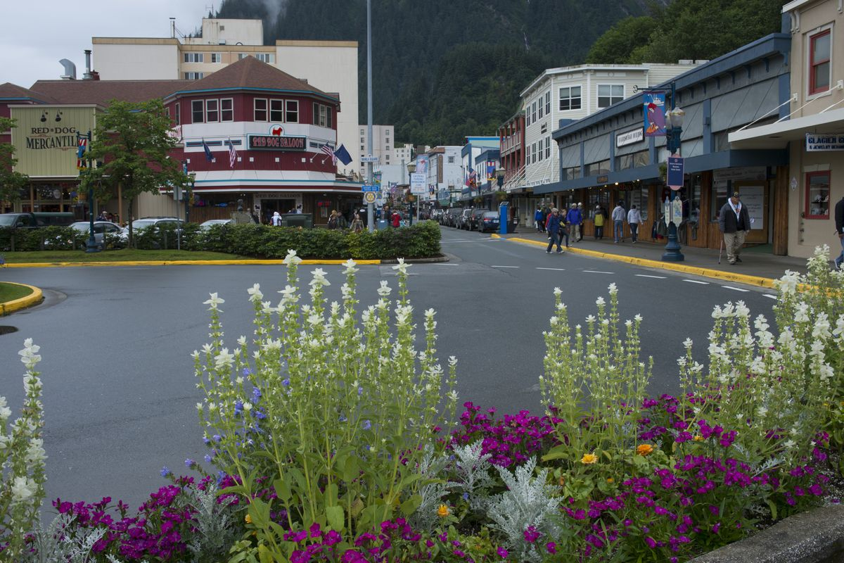 Street scene in downtown Juneau, Alaska, USA with the...
