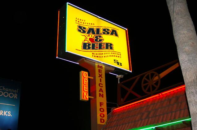 Exterior shot of Salsa & Beer in North Hollywood, California