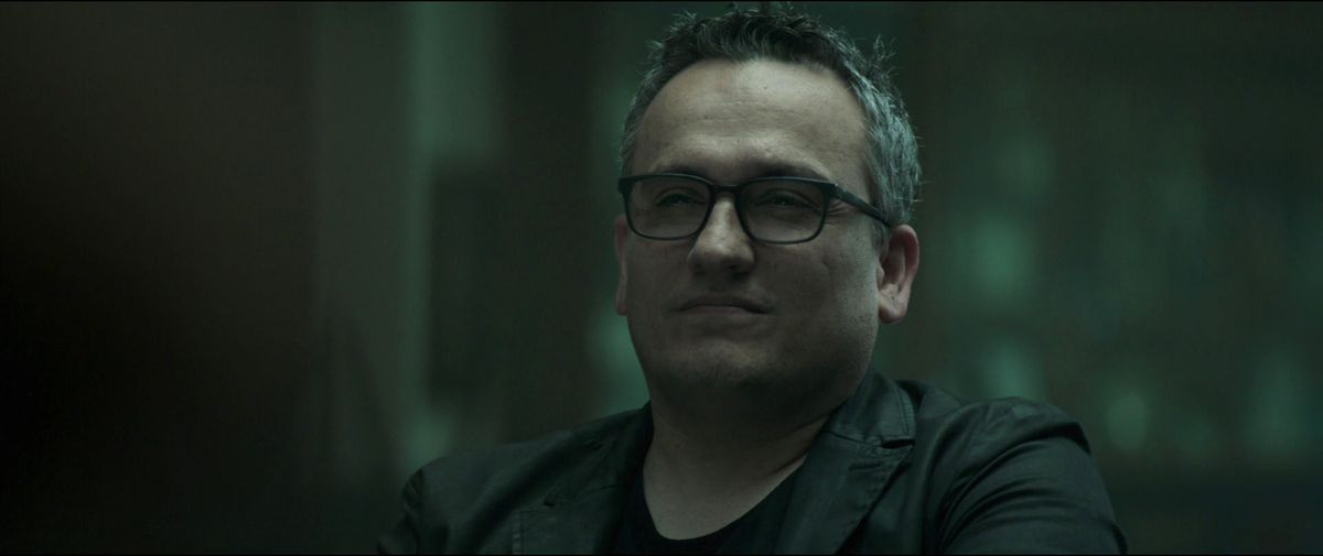 Joe Russo as a gay grieving man who squints in Avengers: Endgame