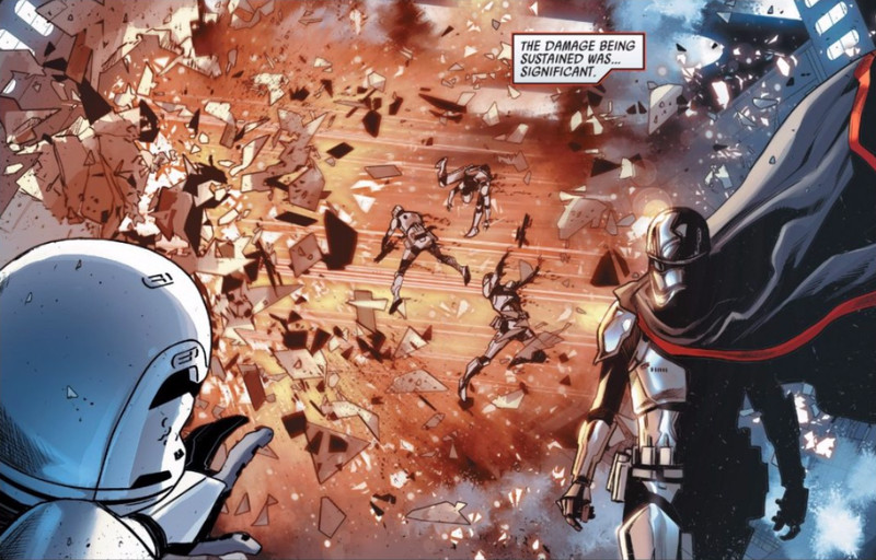 Captain Phasma walks through the hellish aftermath of Poe Dameron's bombing run inside Starkiller Base.
