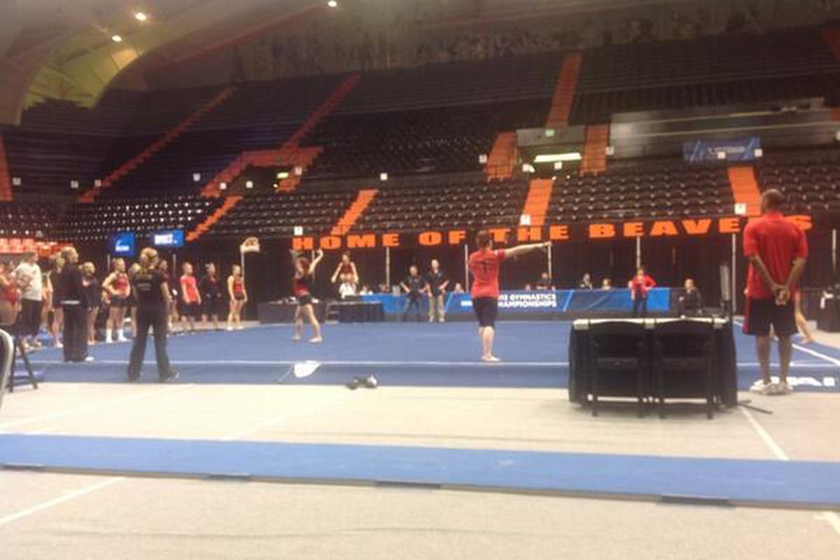 The Gym Dogs practice in Corvallis prior to the NCAA Regional meet