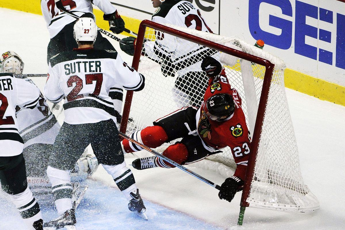 """Sutter """"nudged"""" Chicago forward Kris Versteeg into the net"""