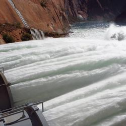 The Grand Canyon is intentionally being flooded from the Glen Canyon dam to re-distribute sediment along the canyon floors