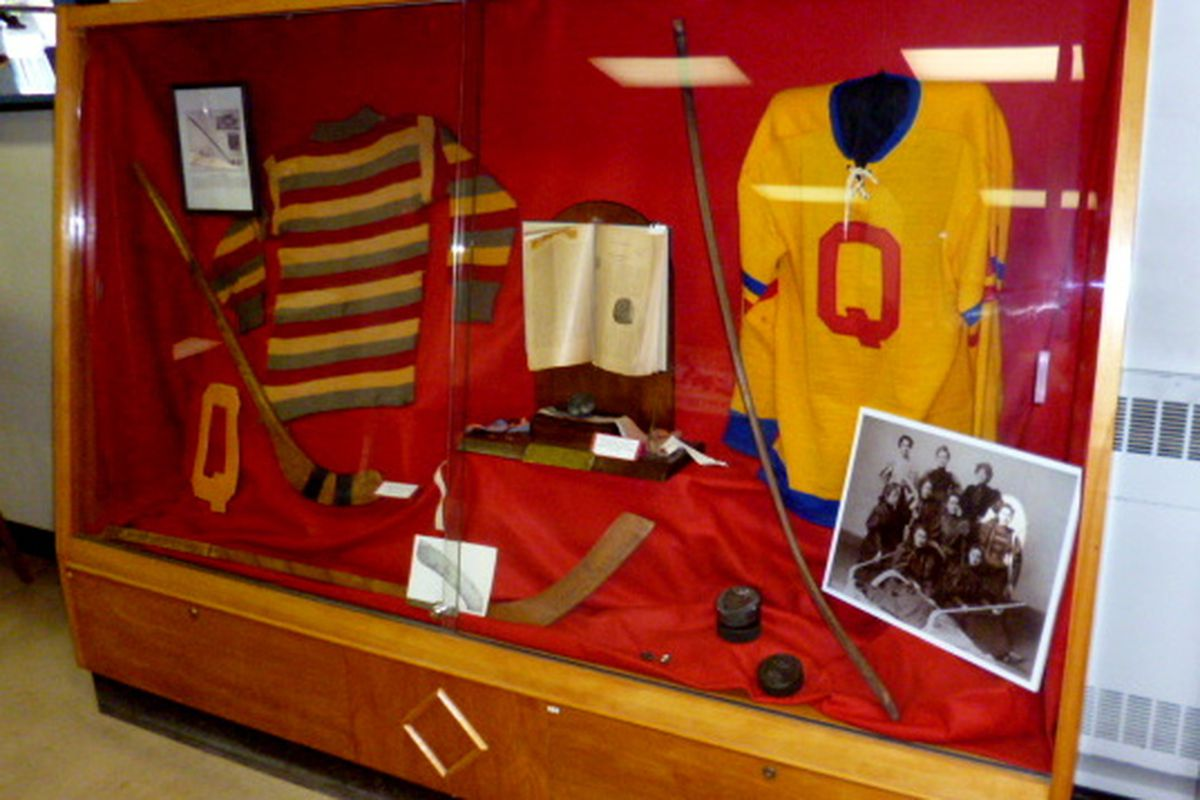 """Check out the gear the old """"Love me Littles"""" (later known as the """"Morning Glories"""") used to play hockey with at Queen's University in the 1890's."""