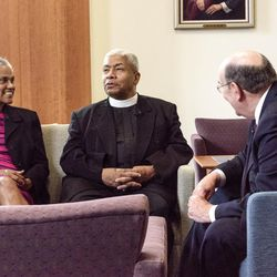 Elder Quentin L. Cook, right, of the LDS Church's Quorum of the Twelve Apostles, meets with the Rev. Eugene F. Rivers III, center, founder and president of the Seymour Institute for Black Church and Policy Studies, and Jacqueline C. Rivers, left, institute executive director. Elder Cook spoke on religious freedom Wednesday, July 26, at the Seymour Institute's 2017 Black Leadership Summit, held at the Princeton Theological Seminary in Princeton, N.J.