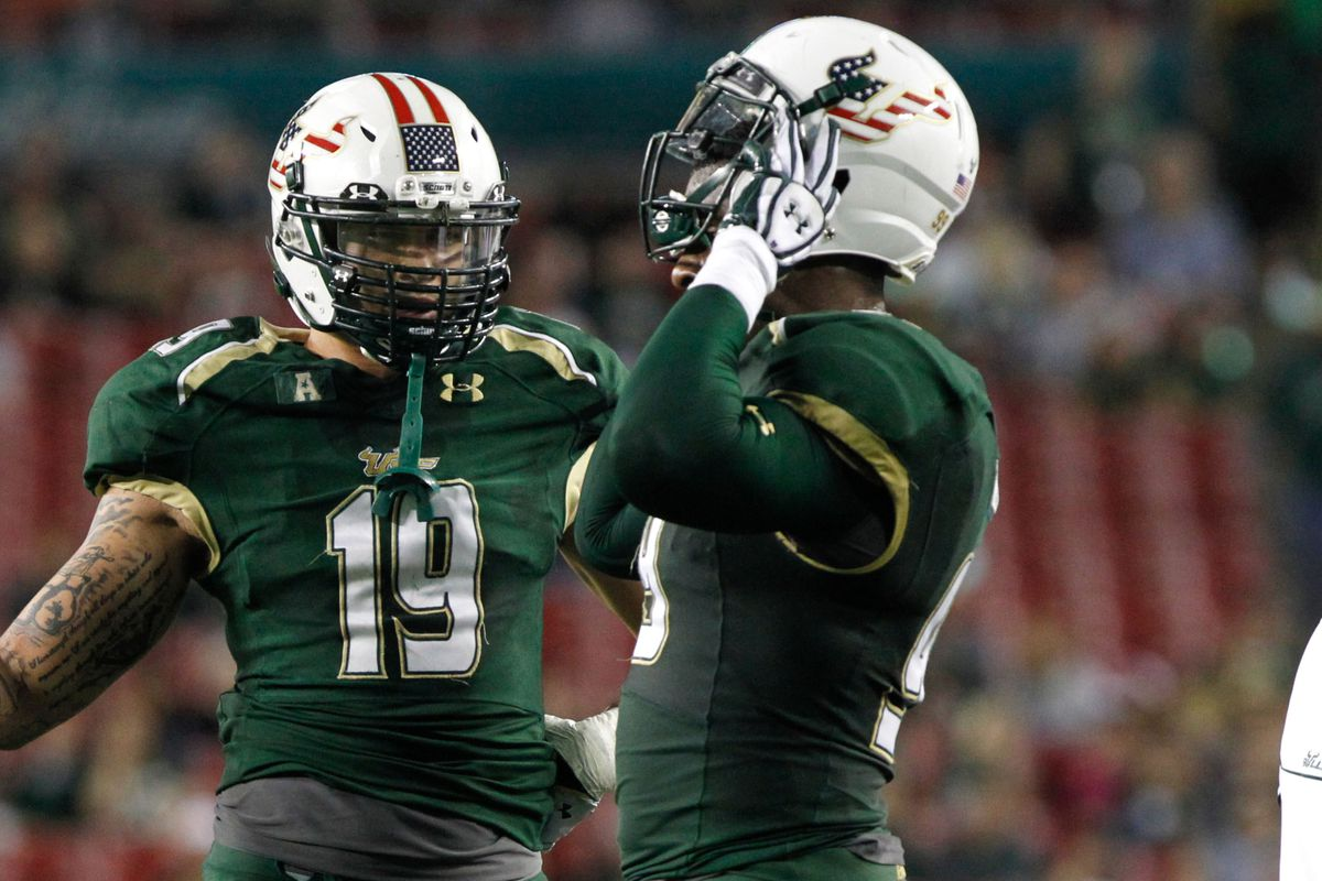 Aaron Lynch (left) and Tevin Mims represent USF at the NFL Combine.