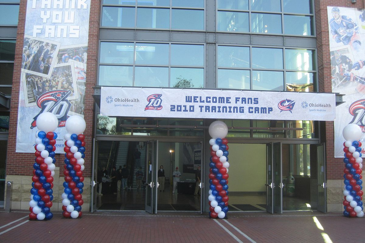 The Blue Jackets kicked out the stops to welcome fans on the first day of on-ice workouts at Nationwide Arena.