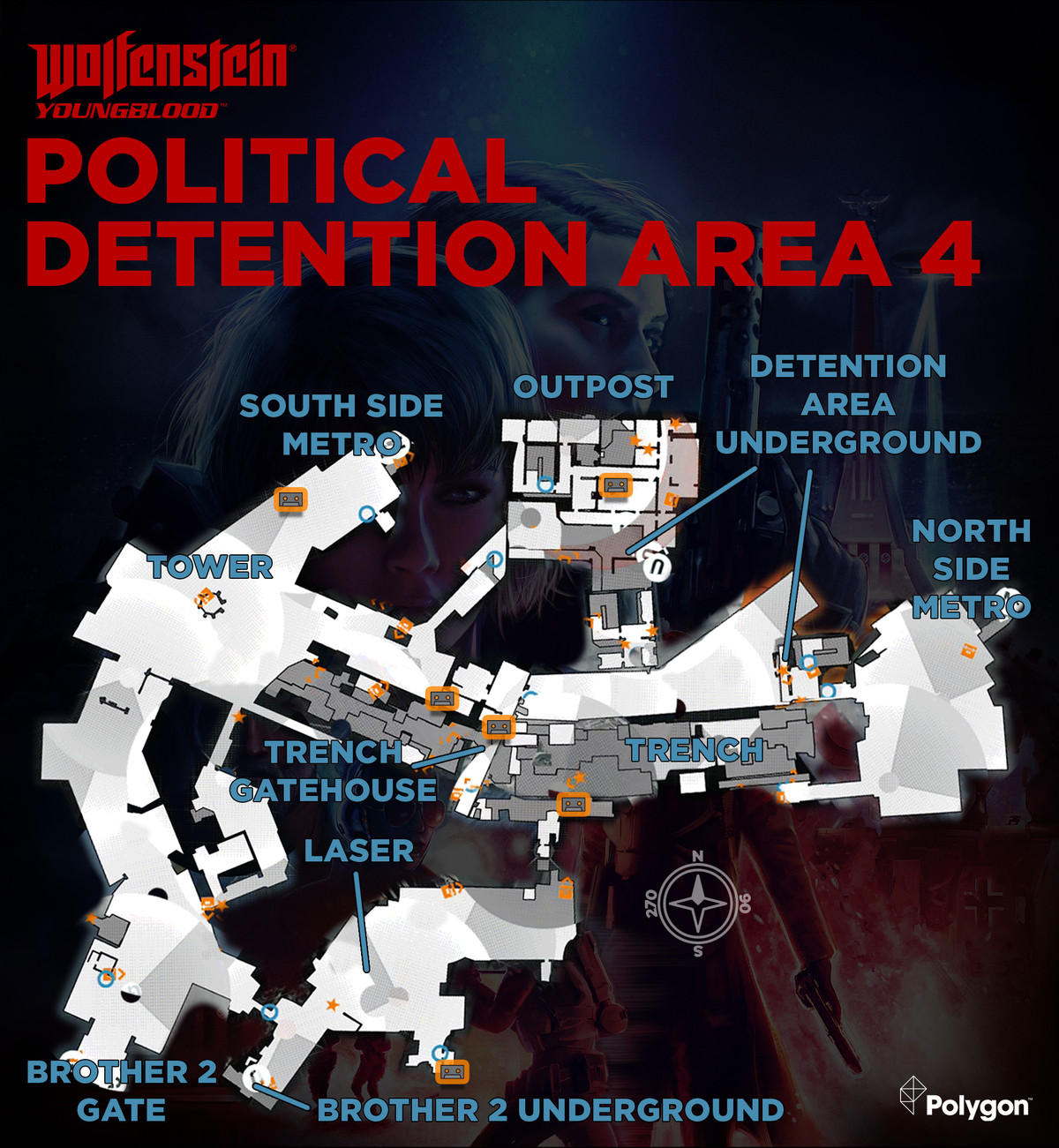 Wolfenstein: Youngblood Political Detention Area 4 map with Cassette Tape locations