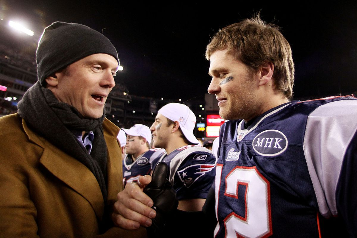 Faces 1 and 2 on the Mount Rushmore of Patriots quarterbacks.  (Photo by Elsa/Getty Images)