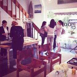 Goop superfans huddled on the first floor, discussing their retail strategy. Bonus: everything—from the chairs to the tables to the display racks—are available for purchase, so you <i>can</i> essentially replicate the store's setup in your own