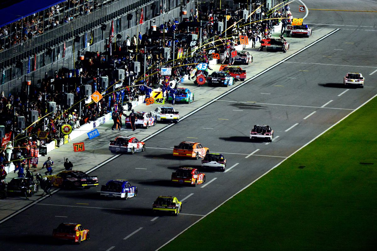 A general view of pit road during the NASCAR XFINITY Series Subway Firecracker 250 Powered By Coca-Cola at Daytona International Speedway on July 4, 2015 in Daytona Beach, Florida.