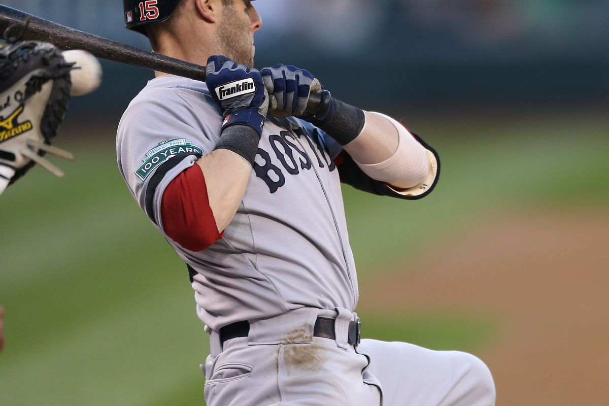 Dustin Pedroia gets a little chin music, or as regular baseball players call it, a pitch at the belt