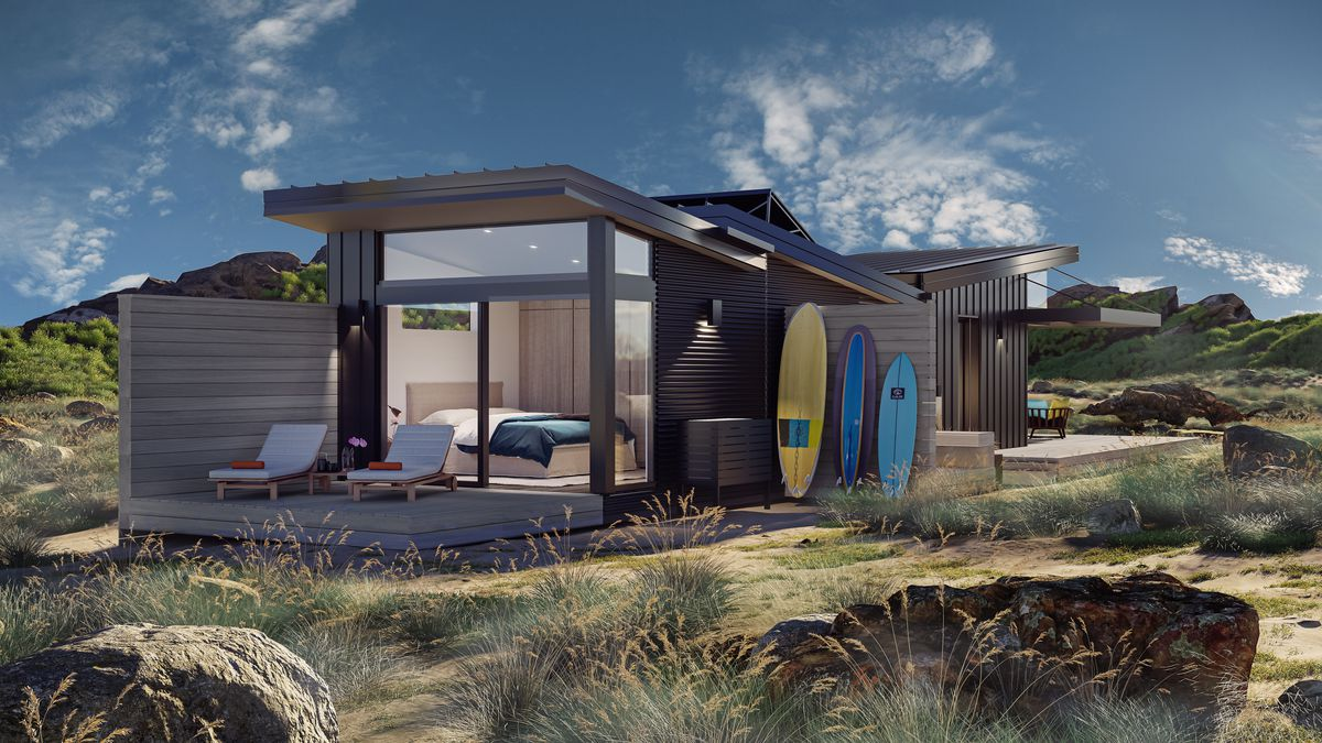 Rendering of prefab house with pitched roof.