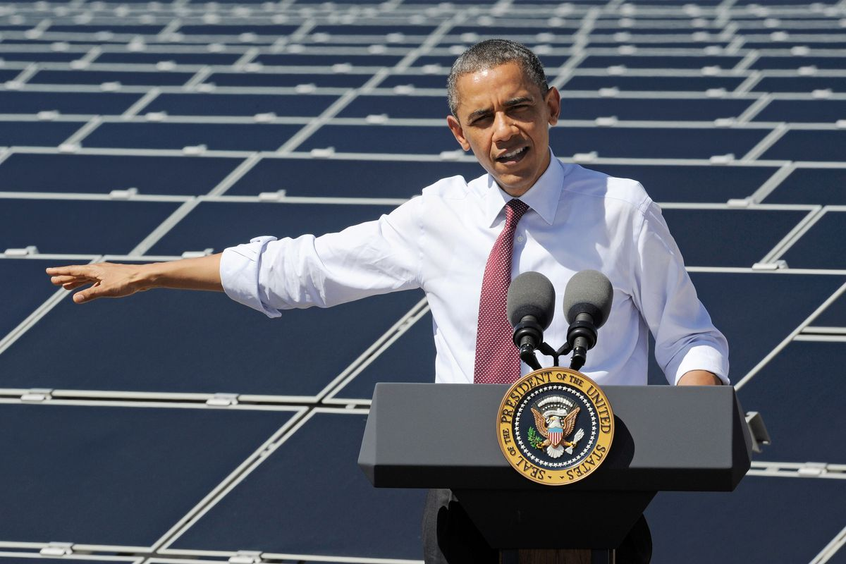 U.S. President Barack Obama speaks at Sempra U.S. Gas & Power's Copper Mountain Solar 1 facility, the largest photovoltaic solar plant in the United States on March 21, 2012 in Boulder City, Nevada.