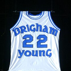 The first jersey to be retired at the Marriott Center in Provo is Danny Ainge's. BYU honored Ainge with his jeresy being hung in the Marriott Center during halftime of thge last home game of the season Mar. 8, 2003. Photo by Stuart Johnson (Submission date: 03/08/2003)