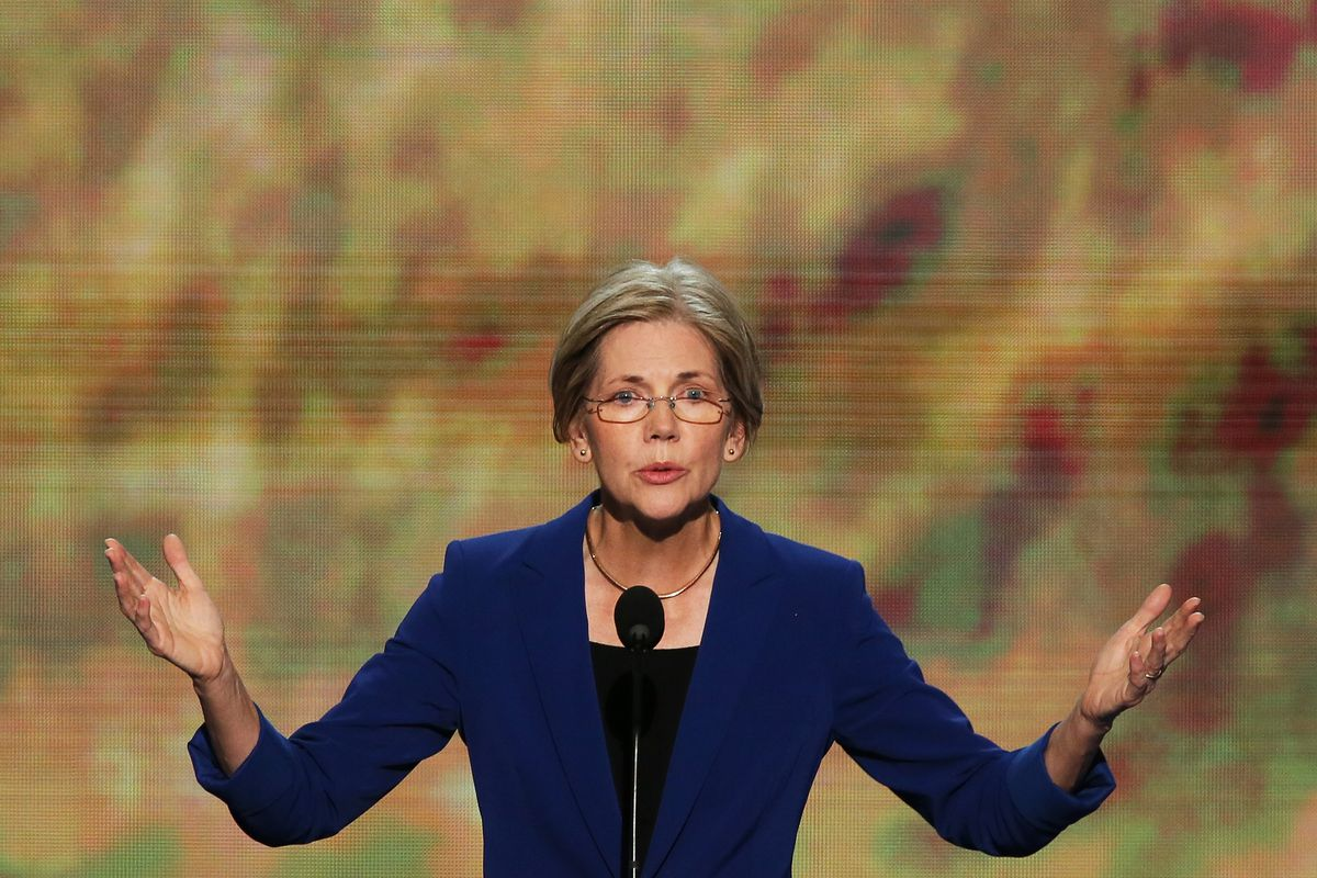 Massachusetts Senate candidate Elizabeth Warren speaks during day two of the Democratic National Convention
