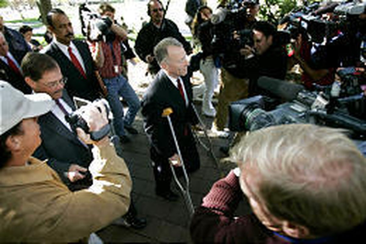"""I. Lewis """"Scooter"""" Libby, Vice President Dick Cheney's former chief of staff, leaves court Thursday. A Libby trial next year could cause problems for the White House."""
