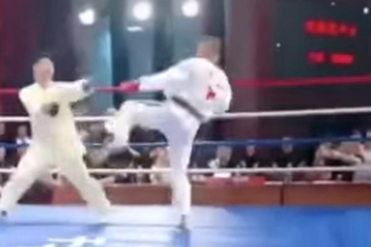 Video: Notorious 'kung fu' eye-poker gets head kick KO'd by taekwondo fighter