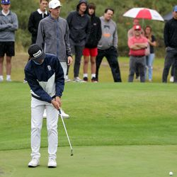Golfers compete in the 5A boys state golf tournament at The Oaks at Spanish Fork in Spanish Fork on Tuesday, Oct. 5, 2021.