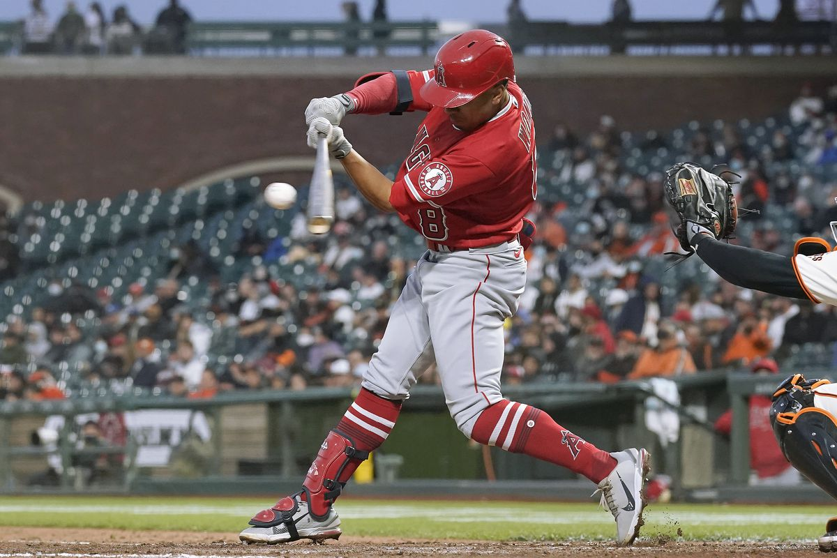 Kean Wong #8 of the Los Angeles Angels bats against the San Francisco Giants in the top of the six inning at Oracle Park on June 01, 2021 in San Francisco, California.