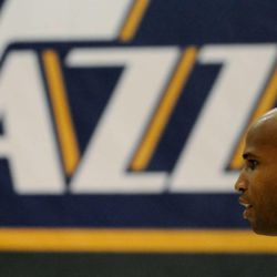The Jazz's Richard Jefferson during media day at the Zions Bank Basketball Center on Sept. 30