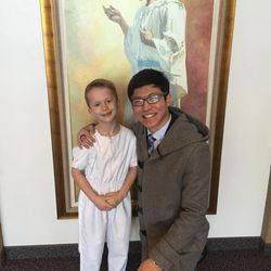 ChenWei Guo served as a witness at the baptism of William Abegg after returning to the U.S. to attend school at LDS Business College.