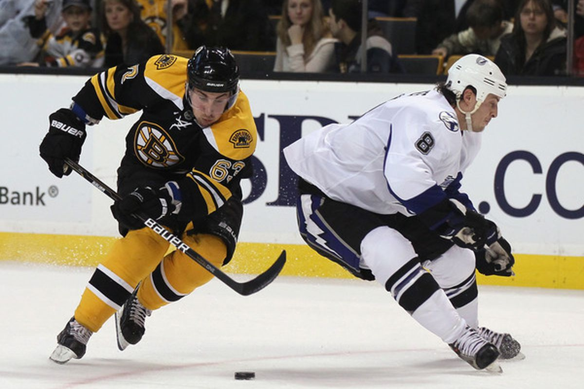 BOSTON MA - DECEMBER 02:  Brad Marchand #63 of the Boston Bruins gets around Randy Jones #8 of the Tampa Bay Lightning on December 2 2010 at the TD Garden in Boston Massachusetts. The Bruins defeated the Lightning 8-1.  (Photo by Elsa/Getty Images)
